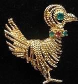 Vintage Mid Century 14K Gold Bird