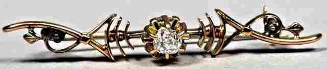 Victorian 10K Gold  Diamond Bar Pin