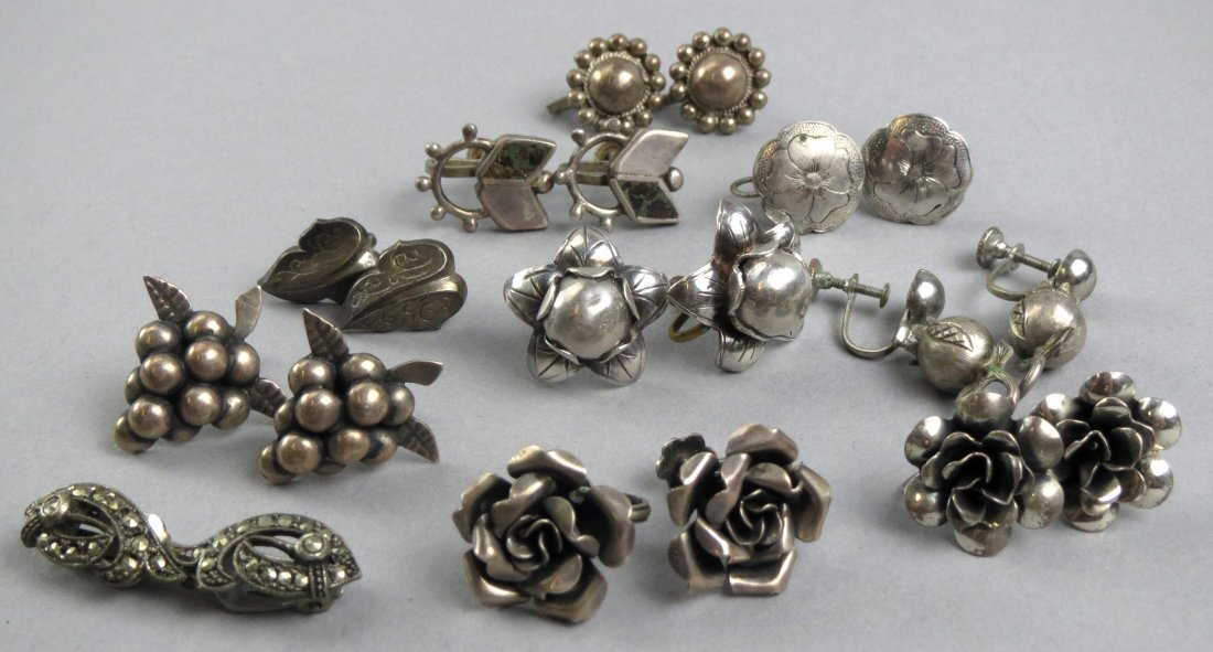 Vintage Mexican Silver Earring Chinese Lot