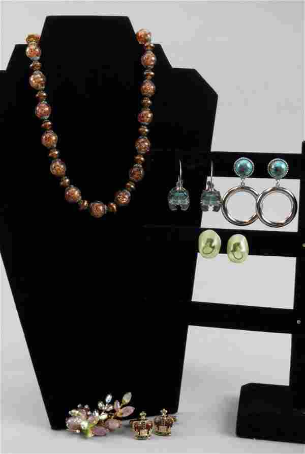 Murano Beads Costume Jewelry Lot, Earrings, Brooch
