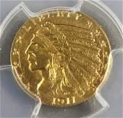 1911 D $2.5 dollar Indian Head Gold Coin Strong D