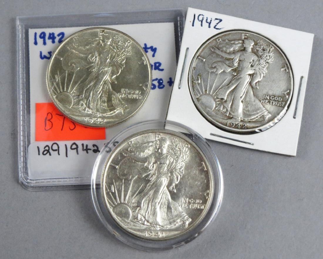 Lot of 3 Walking Liberty Half Dollars 1941 1942 P