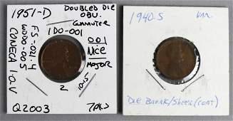 1951 D Double Die Obu  1940S Die Break Penny Error