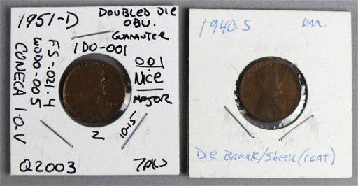 1951 D Double Die Obu  & 1940-S Die Break Penny Error