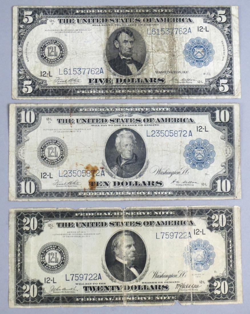 Set of 3 1914 Horse Blanket Federal Reserve Notes