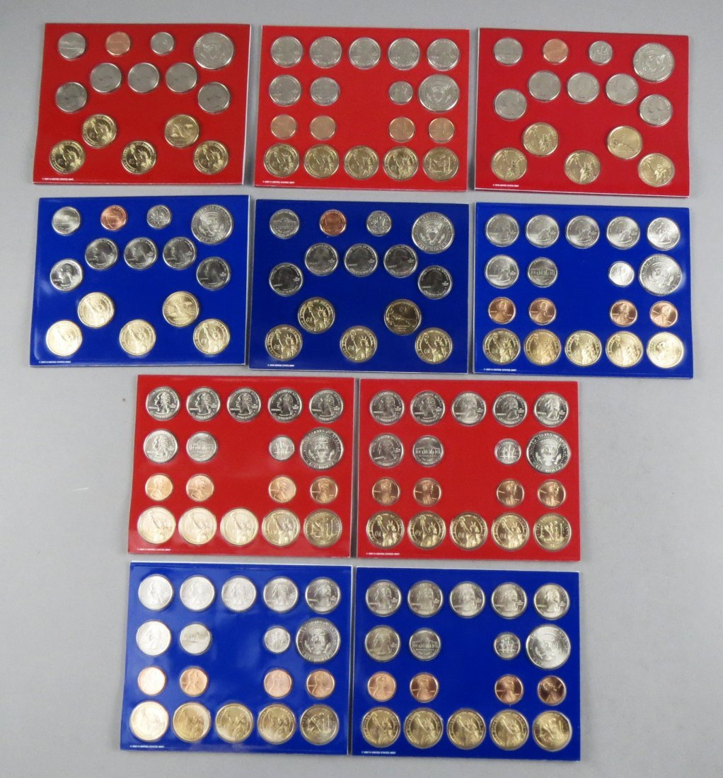 10 Yearly US Mint Uncirculated Coin Sets