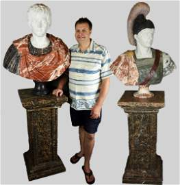 Set of 2 Italian Marble Over Life Sized Busts Emperors
