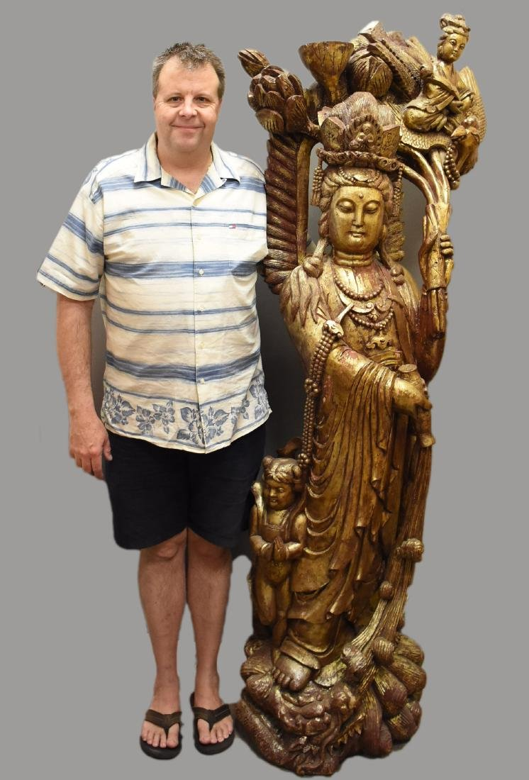 Large Hand Carved Chinese Quan Yin painted wood statue