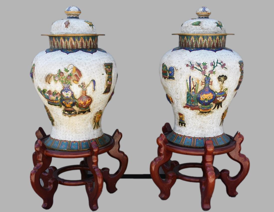 "24"" Antique Chinese Bronze Cloisonne Ginger Jars"