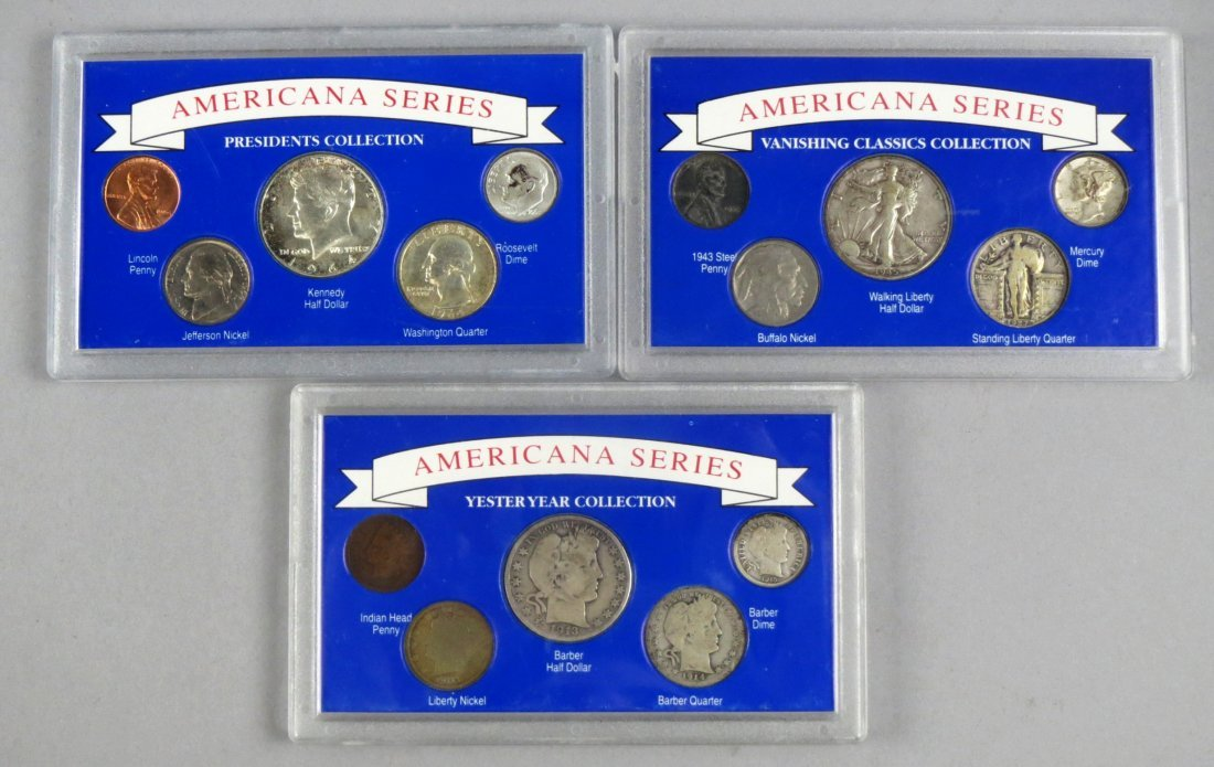 Lot of 3 Americana Series Silver Coins Baber Half Dolla