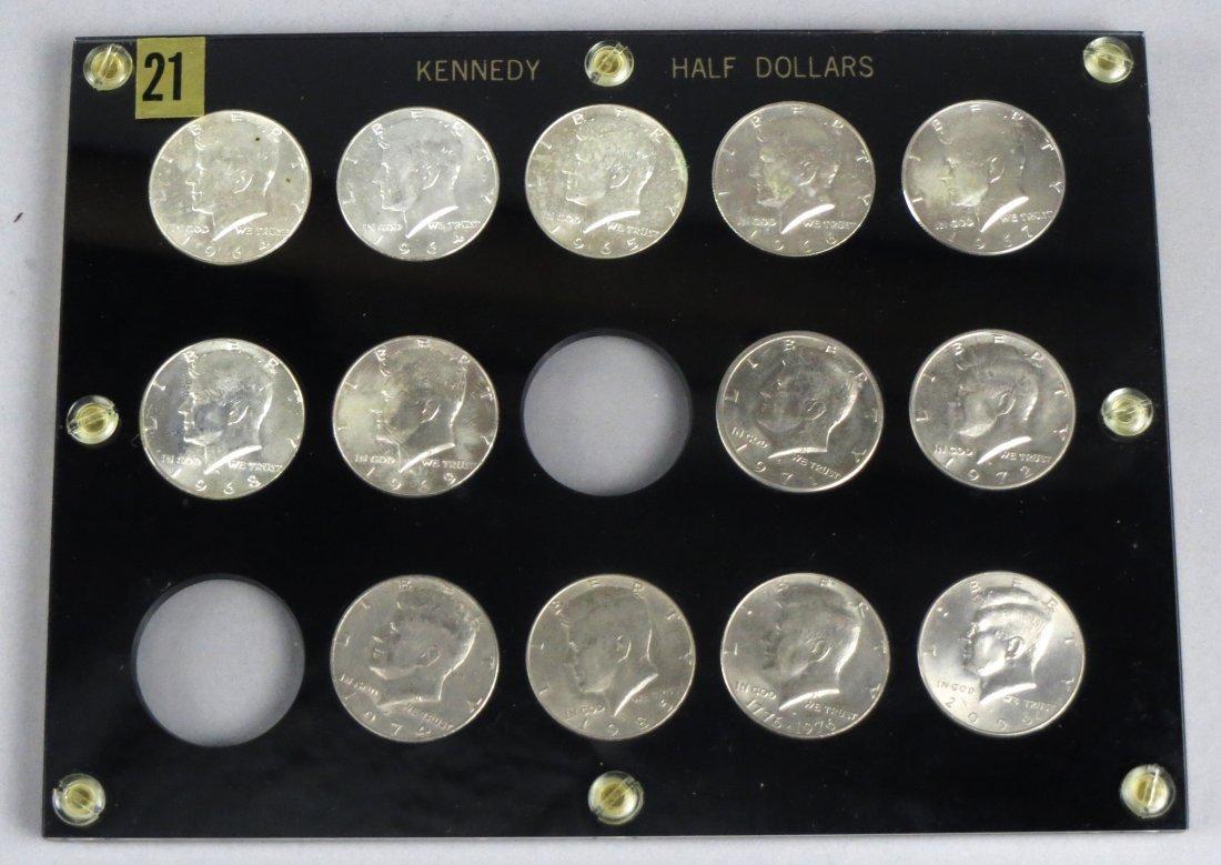 Lot of 13 Kennedy Half Dollars Silver 1964 Plus Capital