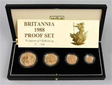 Great Britain 4 Piece Gold Britania Proof Set 1988 with