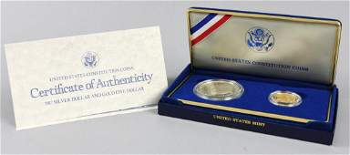 1987 Gold $5 and Silver $1 Constitution coin set