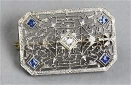 Beautiful Art Deco 14k Diamond Sapphire Brooch
