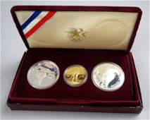 1984 23rd Olympic Coin Set Five Dollar Gold Coin Silver
