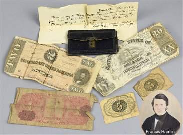 Wallet Of Francis Hamlin, c1835 & contents