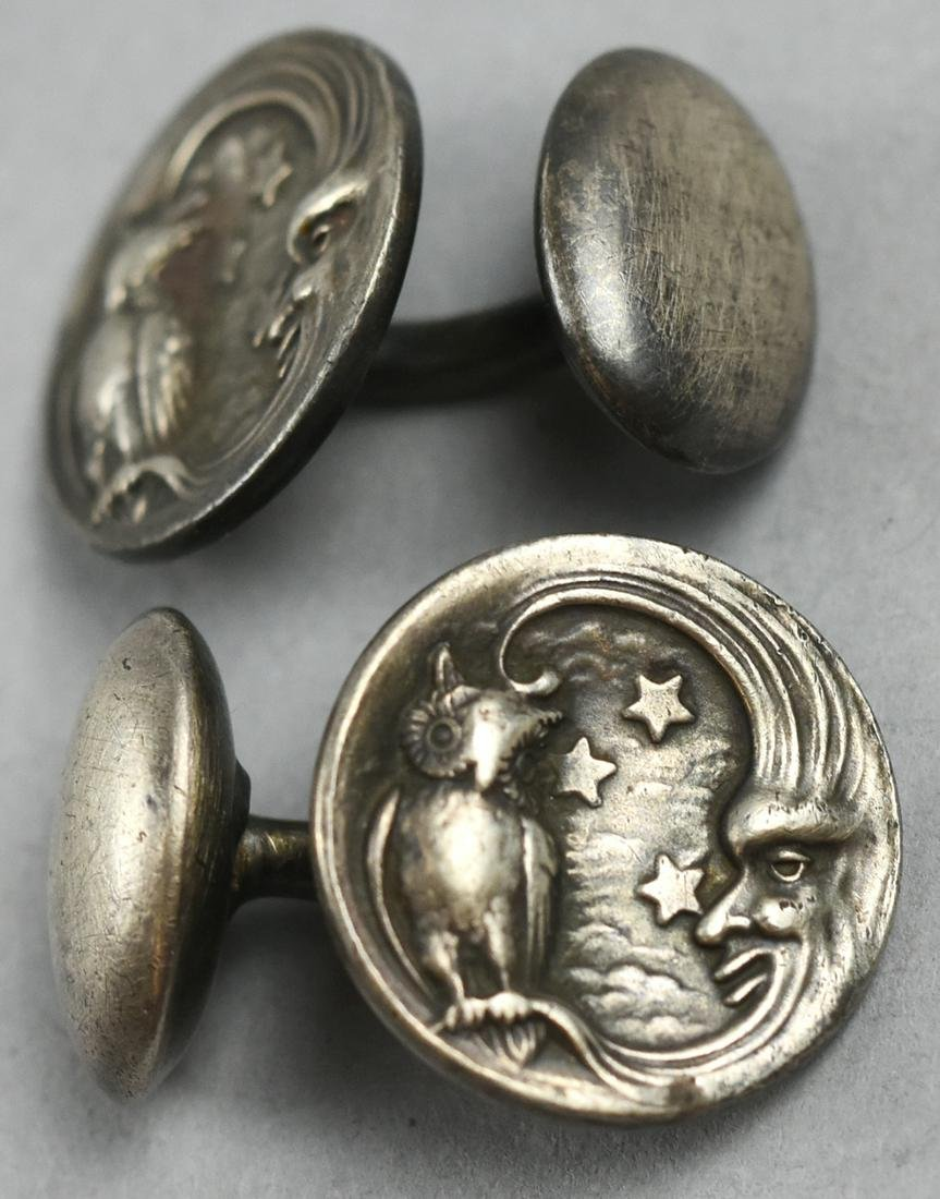 Antique Unger Brothers Owl/Moon Cufflinks Silver