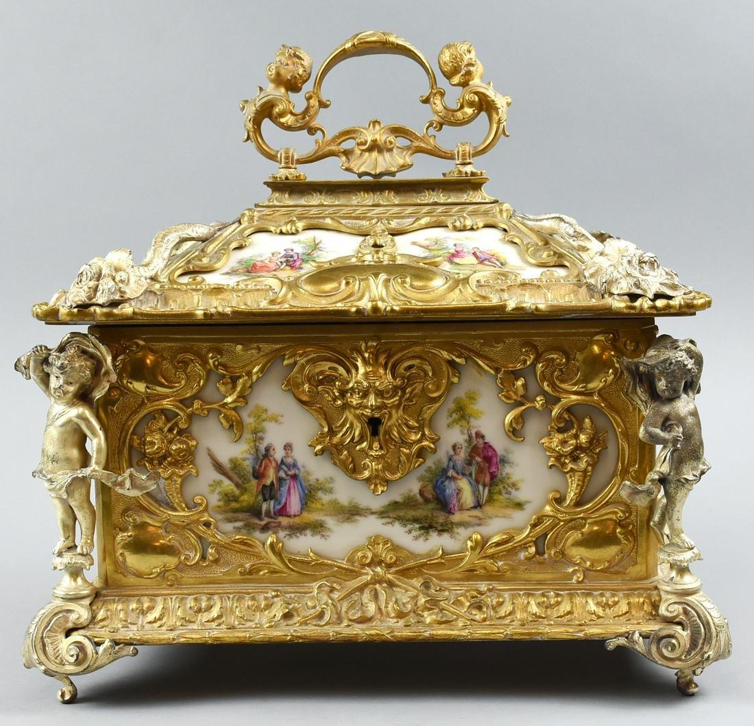 Stunning Antique French Ormalou Brass & KPM Porcelain