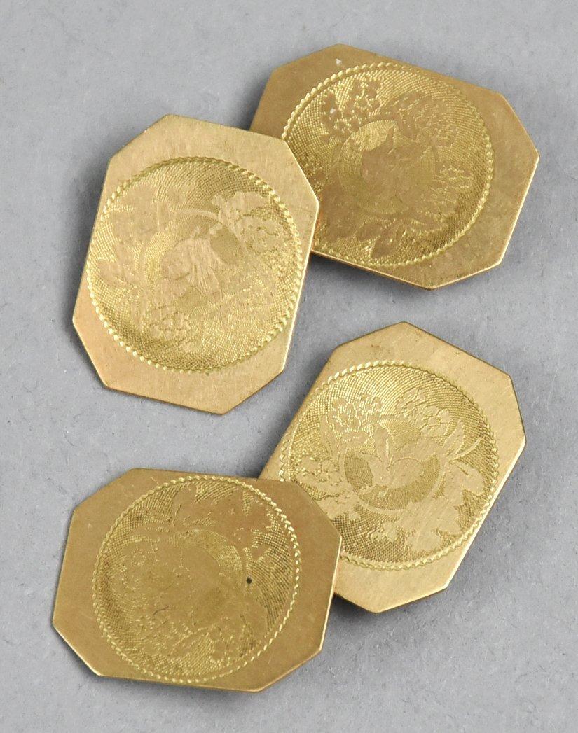 Set of  10 K Gold Etched Cufflinks Victorian