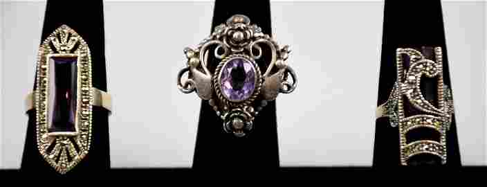 Pretty Hava Sterling, Amethyst & Marcasite Rings