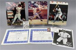 Four Photos NY/SF Giants, Three Signed, PSA/DNA