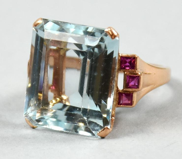 Gorgeous 20ct Aquamarine & Ruby 14K Rose Gold Ring 1940