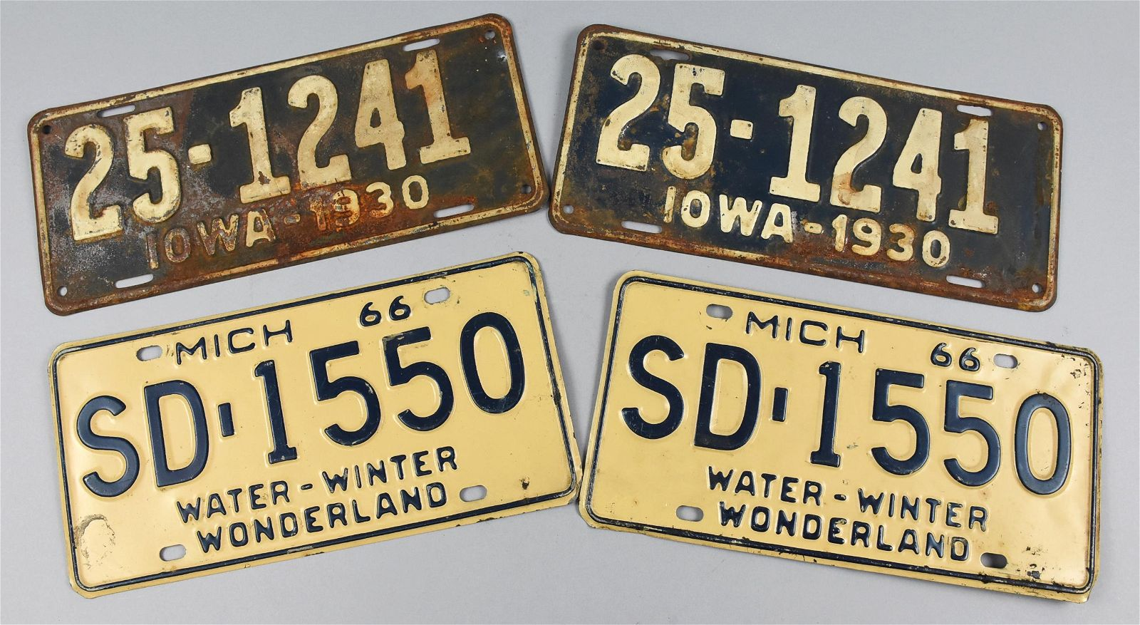 Pair 1930 Iowa Lincense Plate, Pair 1966 Michigan