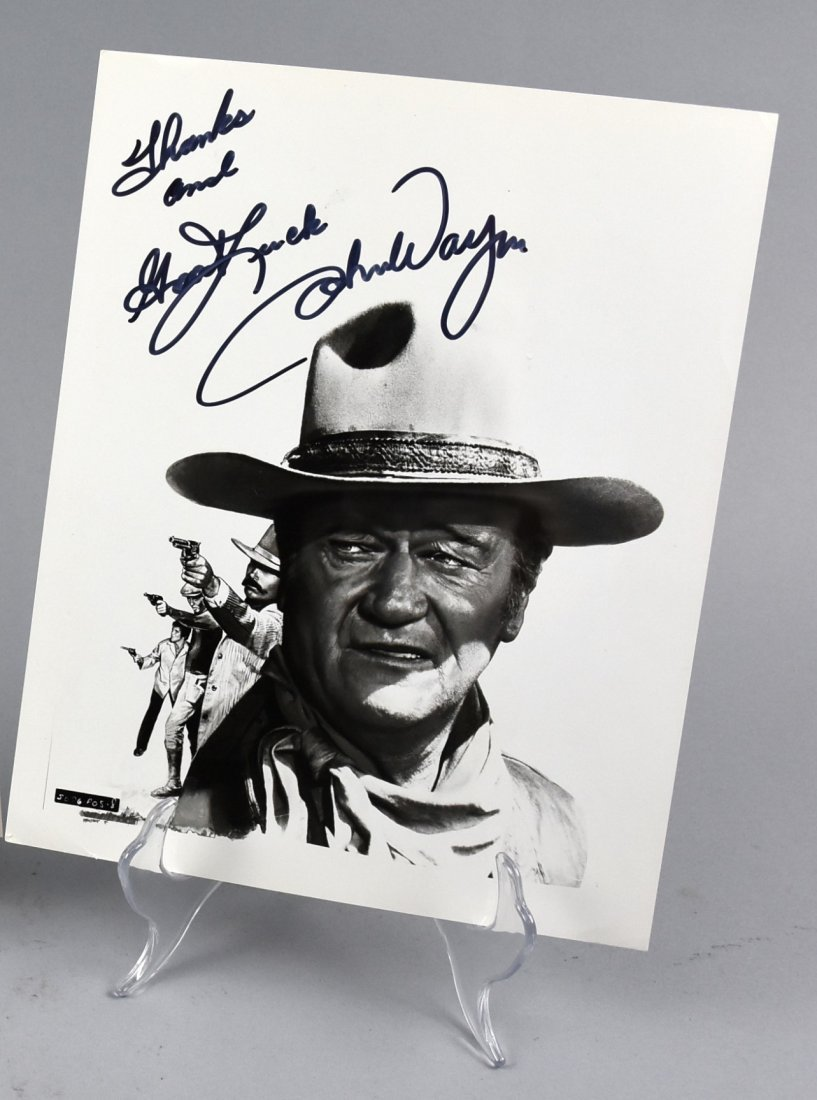 John Wayne Signed B&W Western Photo, COA