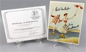 Mary Poppins Julie Andrews / Van Dyke SIGNED Photo COA