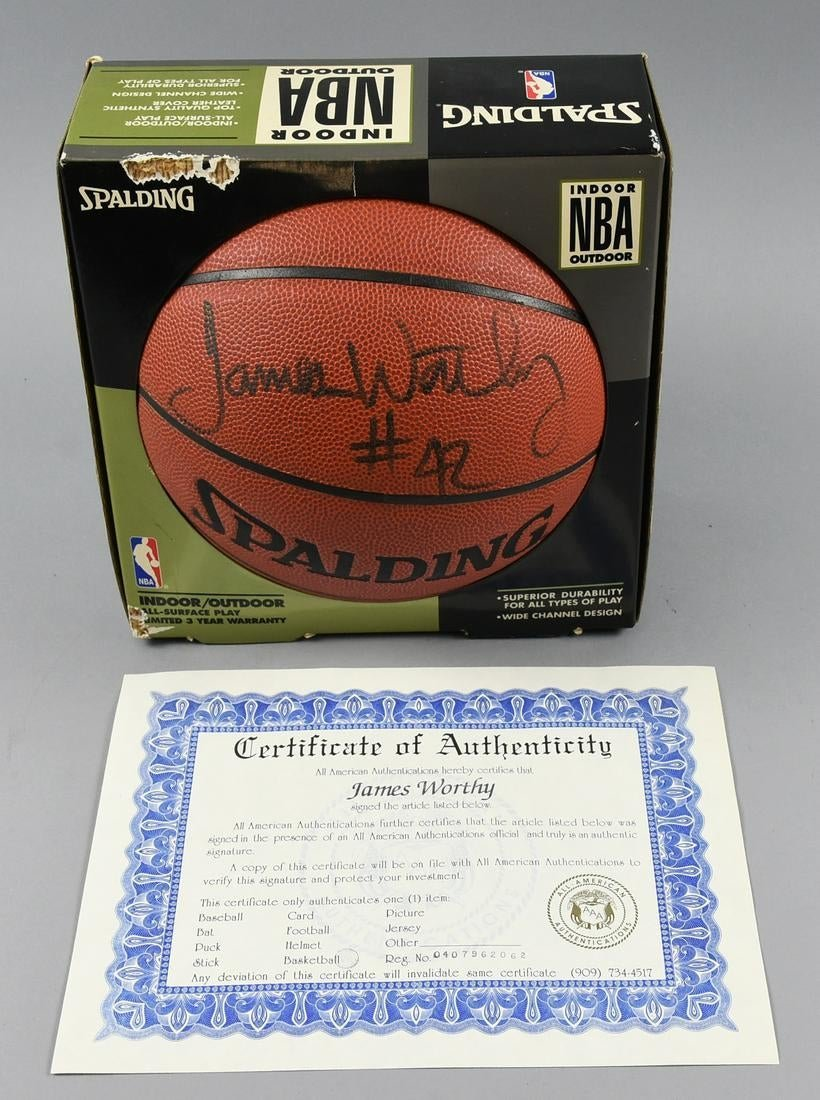 James Worthy Autographed Spalding Basketball COA