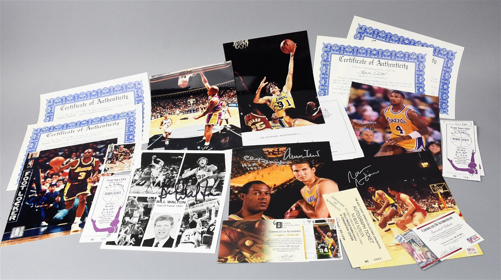 1980s Lakers Signed Photos, COAs