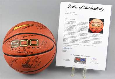 NBA HOF Player Signed Ball PSA DNA Cousy Hagan Jones