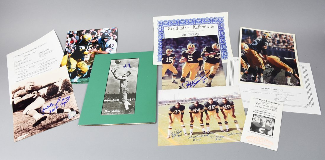 Green Bay Packers  Signed Photos Jeter Hornung COA