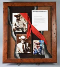 "Clayton Moore ""The Lone Ranger"" Signed Neckerchief, LOA"