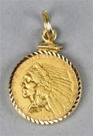 1908 Gold Indian Head $2.5  Pendant