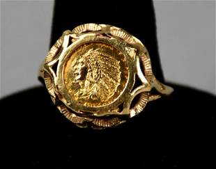 Antique 14K 1914 Indian Head Coin Ring