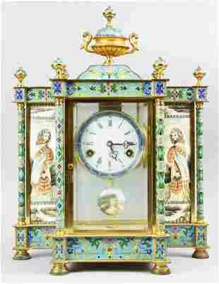 Chinese Brass Cloisonné Mantle Clock Republic Era