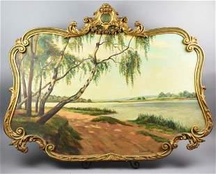 1934 Dexter L Brown Oil on Board, Gold Gilt Wood Frame