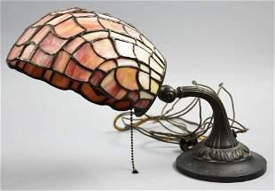 Antique Tiffany Style Piano/Desk Slag Glass Lamp