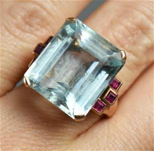 Gorgeous 20ct Aquamarine & Ruby 14K Rose Gold Ring 1940