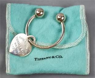 Sterling Tiffany & Co Heart Key Ring