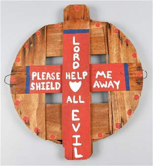 Ben, Lord Help All Barrel Lid Folk Art