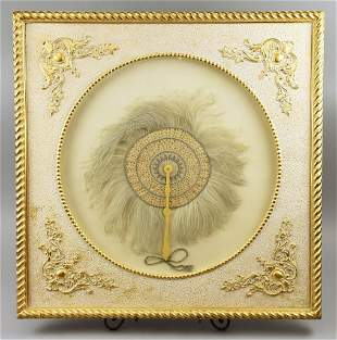 Antique Ostrich Feather Fan, Framed Large