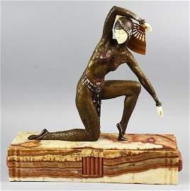 Demetre Chiparus style Bronze FAN DANCER