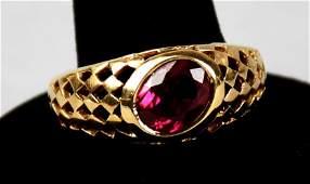 Vintage 10K Gold & Syn. Ruby Ring