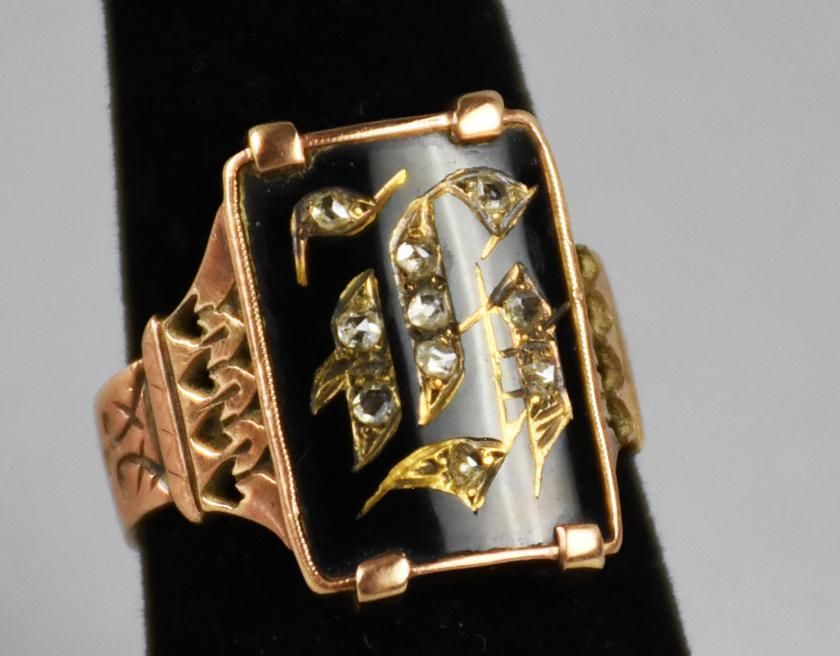 1885 10k Diamond/Enamel Monogram Victorian Ring