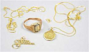 Vintage 14K Gold Lot, Ring, Charm, Chains