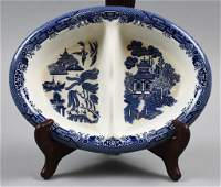 Churchill of Staffordshire Blue Willow Divided Dish