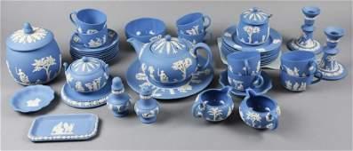 Large Lot Wedgwood Blue Jasperware Tea Set Plus