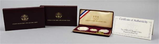 1992 Olympic Coins Set Gold Silver Clad Proof